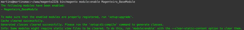 Ativando nosso módulo com bin/magento module:enable