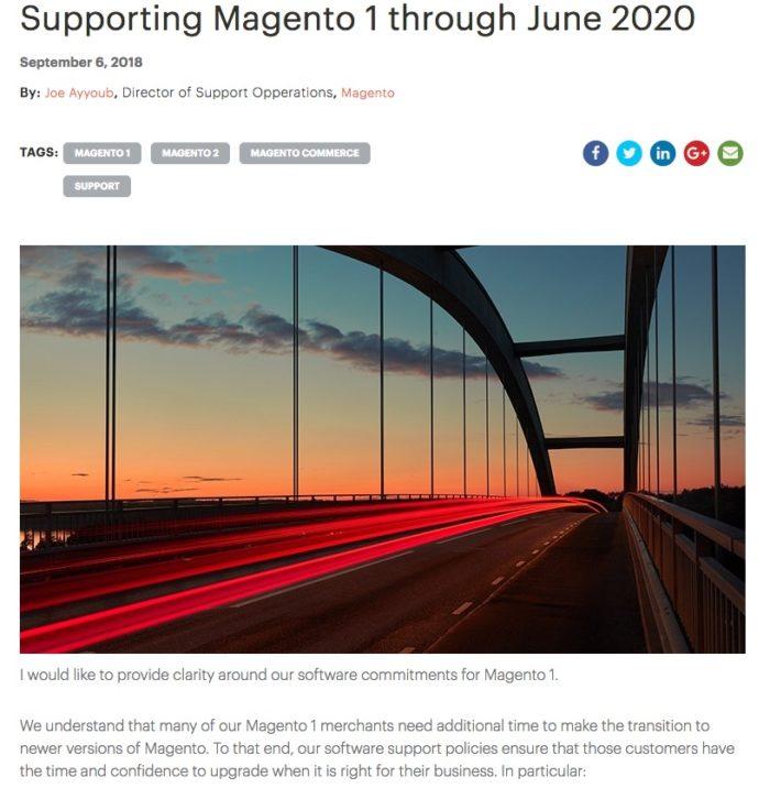Magento anuncia fim do suporte ao Magento 1