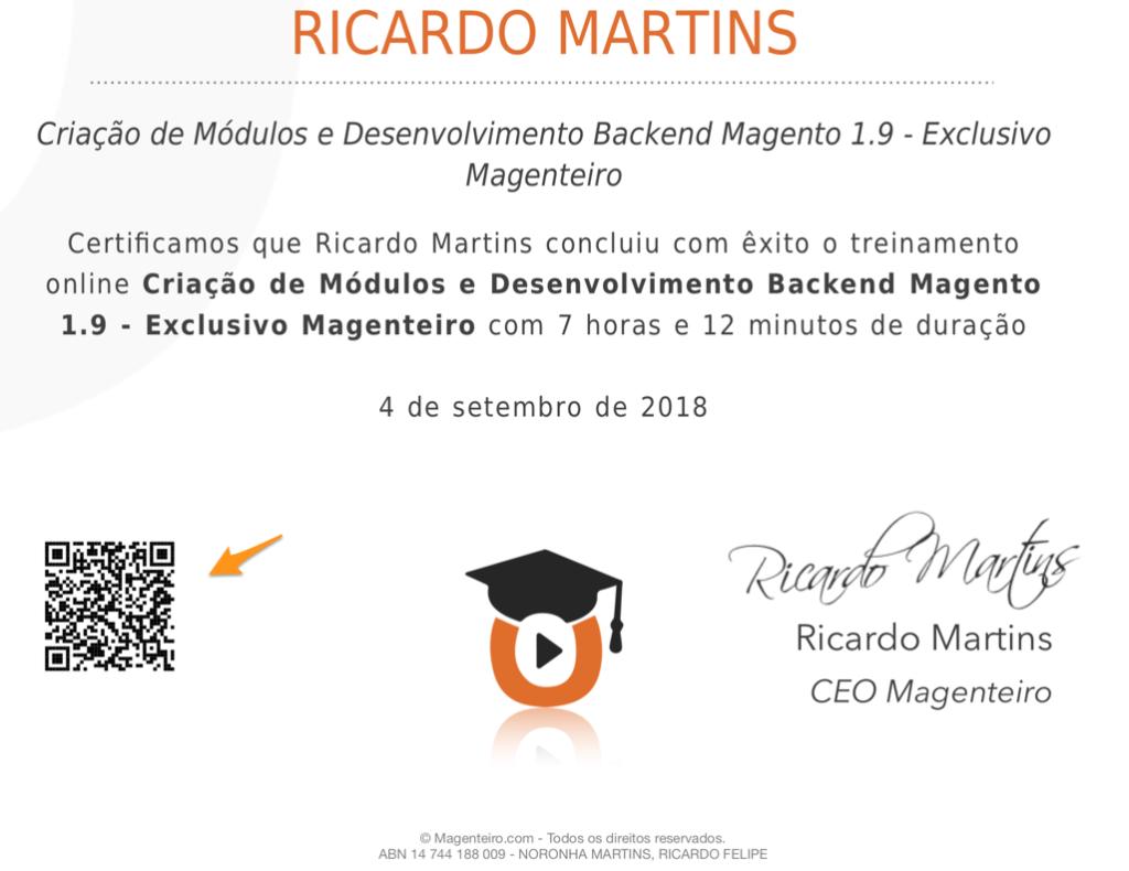 Certificado Magenteiro
