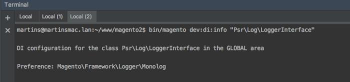Mostrando informações da preferência da classe de logs no Magento 2
