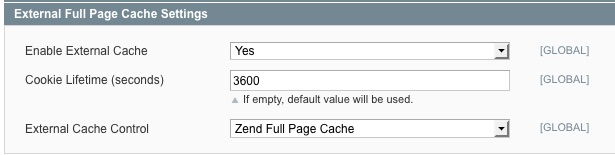 Full Page Cache Config Magento 1